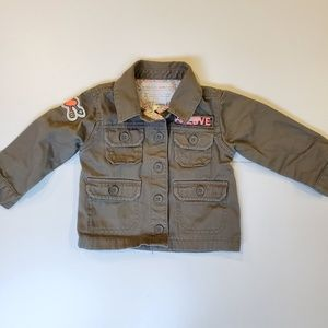 EUC Carter's Girl Army Green Jacket w/pink patches